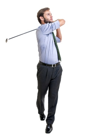 Businessman with golf club isolated photo