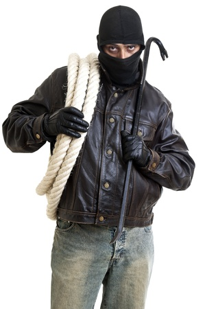 Burglar with rope and crowbar isolated in white photo