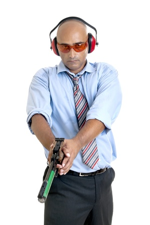 compressed air: Businessman with compressed air gun