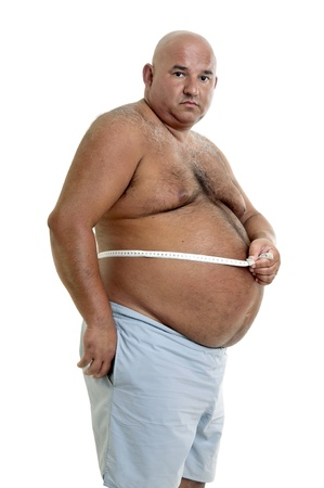 gluttonous: Large man with big belly and measuring tape Stock Photo