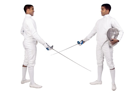 fencer: Male fencer isolated in white