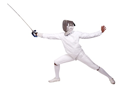 fighting styles: Male fencer isolated in white