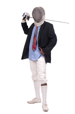 Male fencer businessman isolated in white background photo