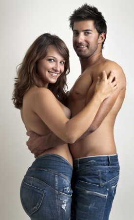 Beautiful fashionable young couple dressed in jeans Stock Photo - 14718963