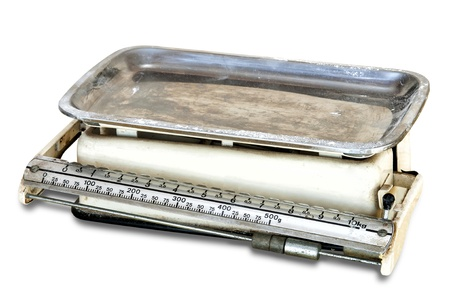 Vintage kitchen scale isolated in white Stock Photo - 15292362
