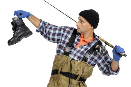 Fisherman with fishing rod and old boot isolated in white Stock Photo - 15785549
