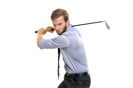 Menacing businessman with golf club isolated photo