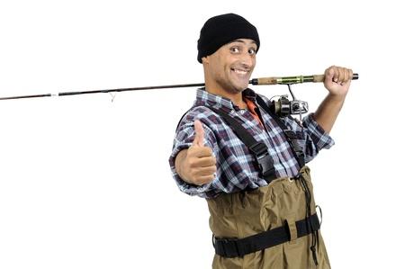 fishingpole: Fisherman with fishing rod isolated in white