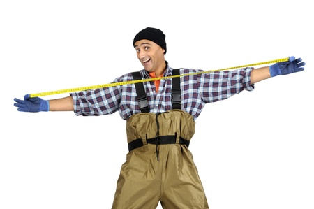 Exceeded fisherman with measuring tape isolated in white Stock Photo - 16523295