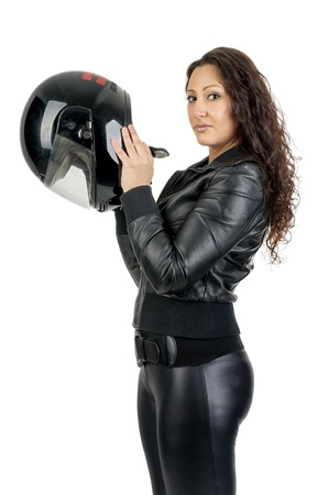 woman motorcycle: Sexy woman in black with motorcycle helmet