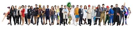 grupo de personas: Multitud o grupo de personas diferentes aislados en blanco Foto de archivo