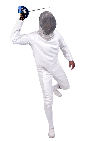 Male fencer isolated in white Stock Photo - 16890347