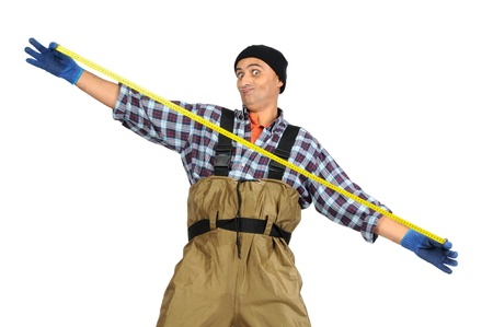 exceeded: Exceeded fisherman with measuring tape isolated in white