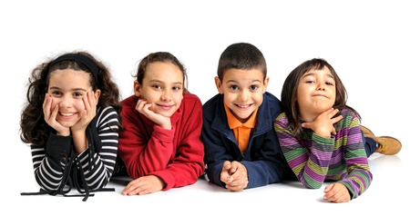 Group of children posing isolated in white Stock Photo - 17108910