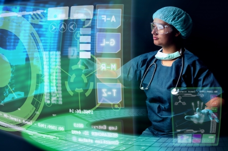 Doctor in uniform with X-rays and digital  screens and keyboard Stock Photo - 17236489