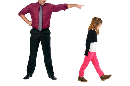 Young girl being grounded by her father