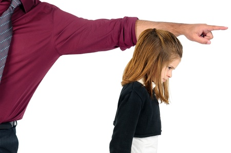 troubles: Young girl being grounded by her father
