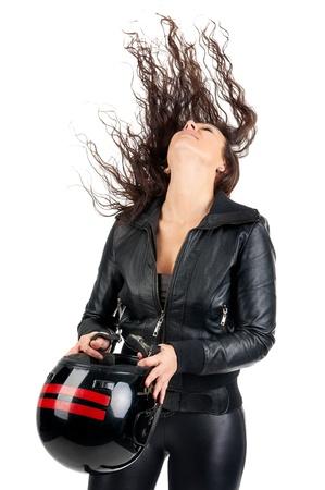 biker girl: Sexy woman in black with motorcycle helmet