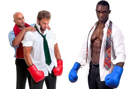Businessmen preparing for a challenge