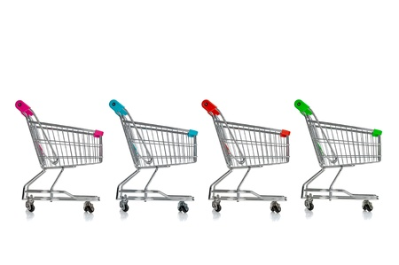 Several shopping carts isolated in white Stock Photo - 17598463