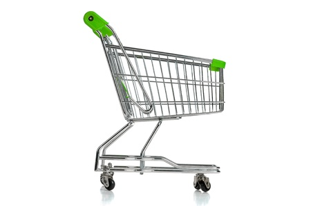 Green shopping cart isolated in white Stock Photo - 17783361