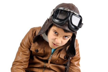 Young boy pilot isolated in white Stock Photo - 17669804