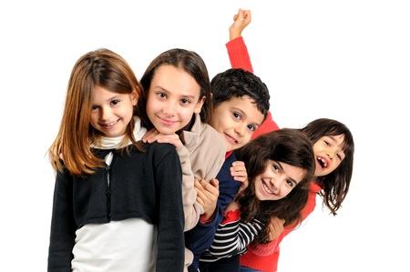 Group of children posing isolated in white Banco de Imagens - 17926648