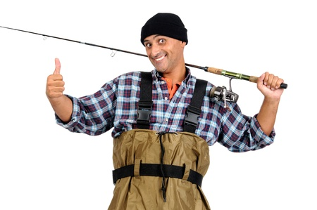 Fisherman with fishing rod isolated in white photo