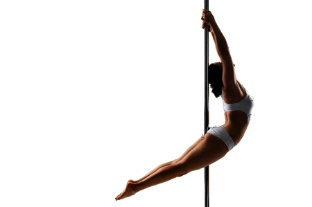 poledance: Pole dancer isolated in white