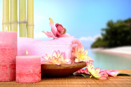 Spa setting in pink tone in a tropical resort photo