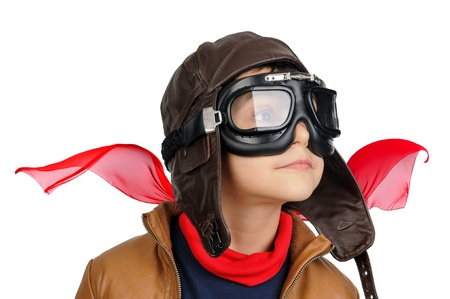 flight helmet: Young boy pilot isolated in white