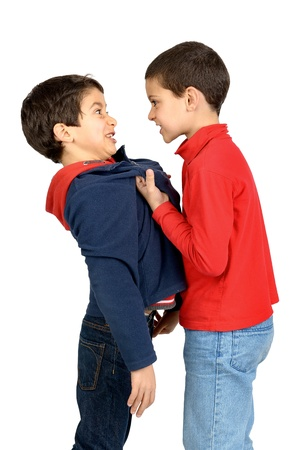 Two boys fighting isolated in white photo