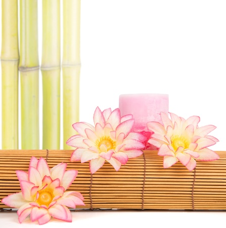 Spa setting in pink tone isolated in white photo