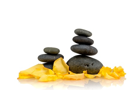 Zen pebbles. Stone spa and healthcare setting photo