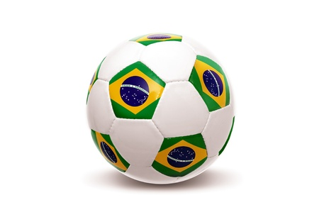 Soccer ball with Brazilian flag isolated in white photo