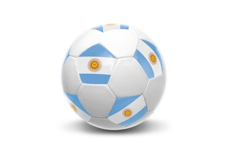 argentinian flag: Soccer ball with Argentinian flag isolated in white