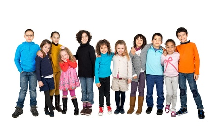 Group of children posing isolated in white photo