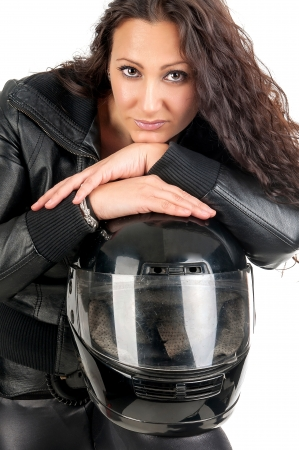 Sexy woman in black with motorcycle helmet photo