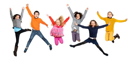 Group of children jumpng isolated in white