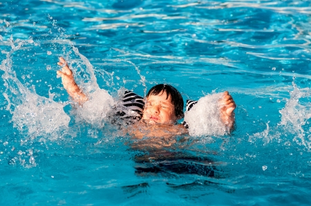 Young boy drowning in the pool photo