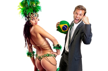 football party: Businessman with soccer ball and brazilian dancer