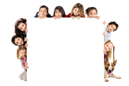 Group of children and a dog with a white board isolated in white