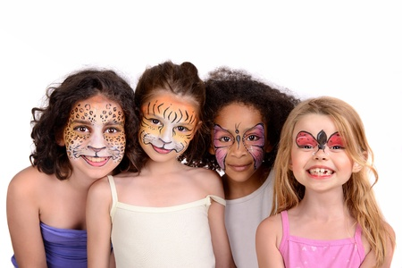 Beautiful young girls with animal painted faces Banco de Imagens - 20999809