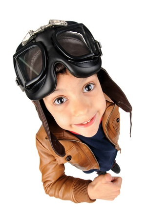 Young boy pilot isolated in white Stock Photo - 21269146