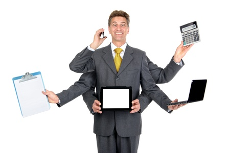 Businessman with several arms with different gadgets