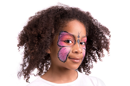 Beautiful young girl with face painted like a butterfly Stock Photo - 22617294
