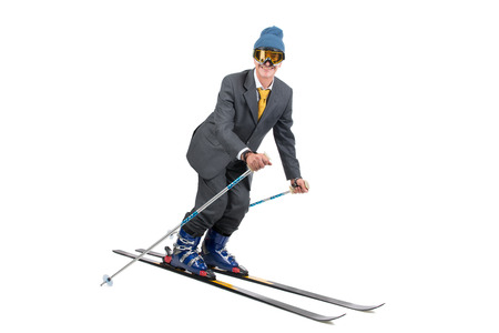 Businessman with ski gear isolated in white photo