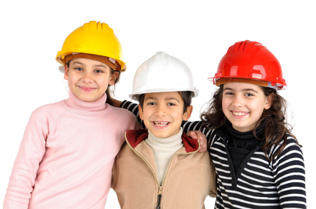 Group of children posing with protective helmets isolated in white Stock Photo - 24692599
