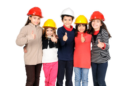 Group of children posing with protective helmets isolated in white Stock Photo - 24692600