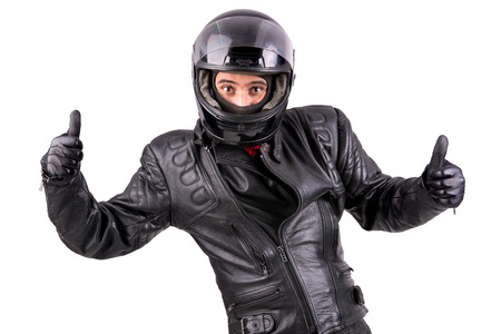Biker in leather jacket with helmet isolated in white Stock Photo - 24943505